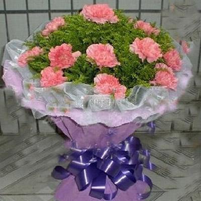 16朵粉色康乃馨,点缀黄莺