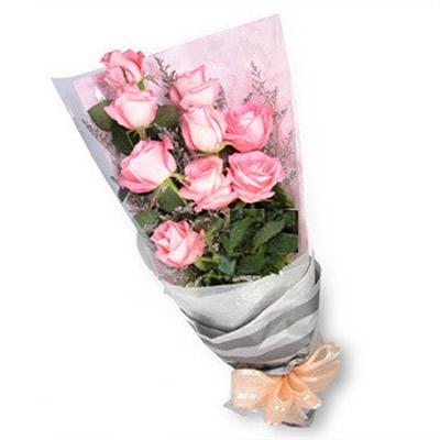 9支粉玫瑰 情人节绿叶适量.
