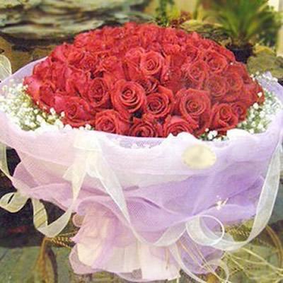 99朵红玫瑰+满天星
