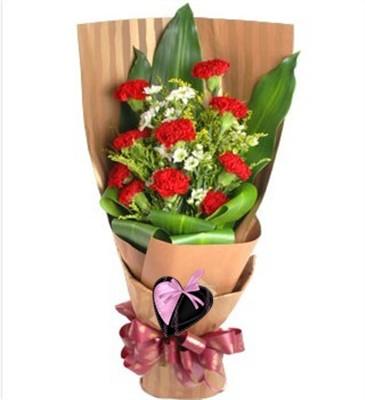 红色康乃馨9枝,白色小菊间插,黄莺丰满,巴西木丰满。