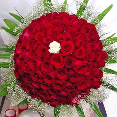 99朵红玫瑰+配花+绿材