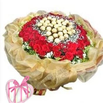 99枝红玫瑰,33颗金莎巧克力,外围黄莺,碎花