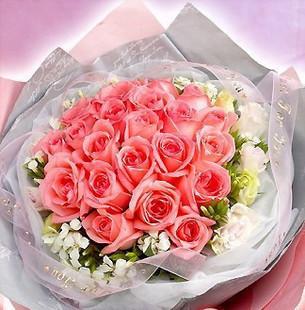 19朵粉玫瑰,点缀金鱼草或者满天星等其他白色小花(时令花材).