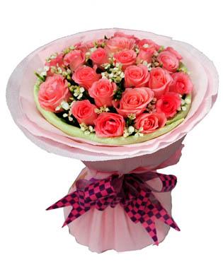 19枝粉玫瑰,小白花搭配或满天星,黄莺