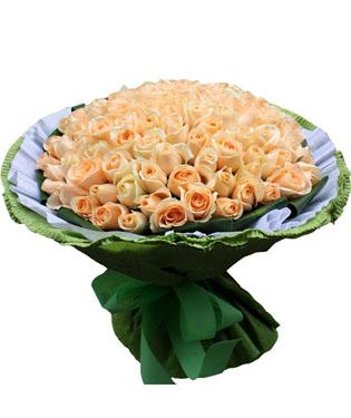 99枝香槟玫瑰,外围巴西叶 (香槟玫瑰是特殊花材,需要联系客服提前预定)