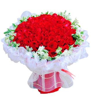 99枝红玫瑰,高山积雪外围(若无用满天星,黄莺绿叶代替)