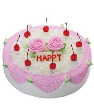 鲜奶蛋糕, 香甜可口,搭上2朵粉色的玫瑰,给你一份与众不同的爱!