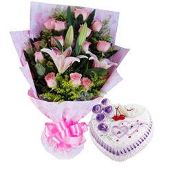 20枝粉玫瑰,2枝多头粉色香水百合.绿叶、黄莺点缀.8寸鲜奶蛋糕