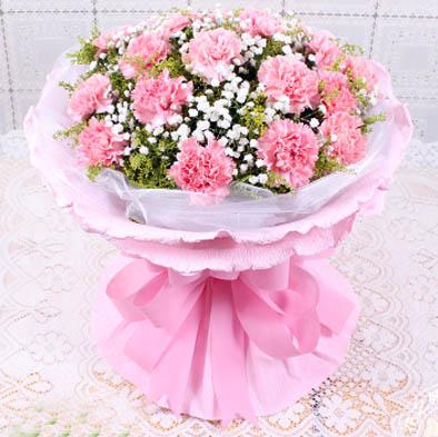 19支优质粉色康乃馨,黄莺满天星点缀