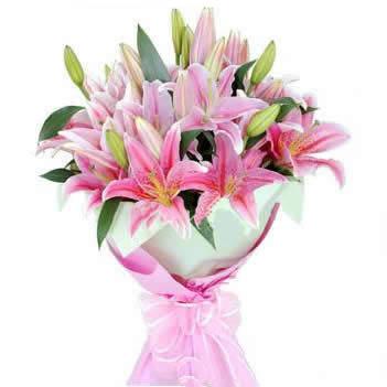 多头粉色香水百合9枝,配叶