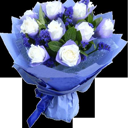 9支白玫瑰,内衬紫色勿忘我和绿叶