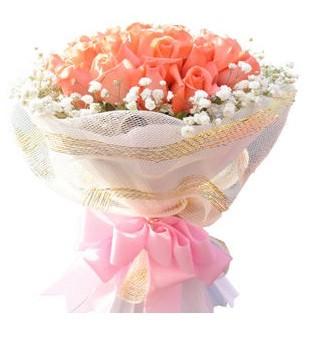 19朵极品昆明粉玫瑰,外围满天星