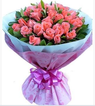 39枝特级粉玫瑰,绿叶丰满