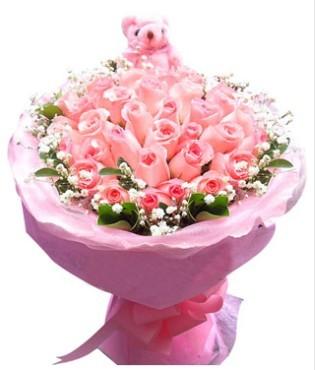 33枝粉玫瑰,满天星绿叶围边,赠送一个小公仔
