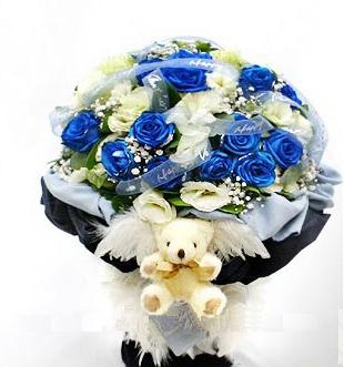 11枝蓝色妖娆、洋桔梗、满天星,白色龙胆花