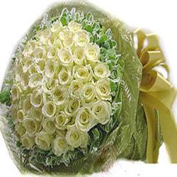 99枝白玫瑰、外围丰富叶上花
