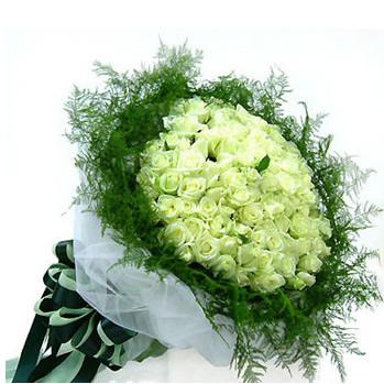 99枝白色玫瑰, 外围相应绿草