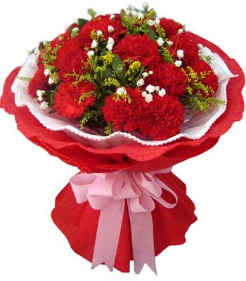 19支红色康乃馨,绿材黄莺