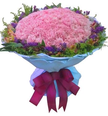 99枝粉色康乃馨,黄英勿忘我黄莺丰满