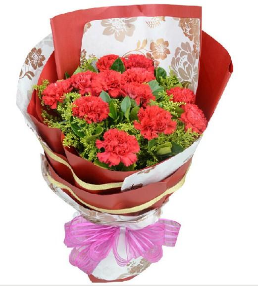 12支红色康乃馨,黄莺栀子叶点缀