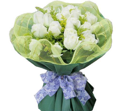 15枝白玫瑰,黄莺点缀
