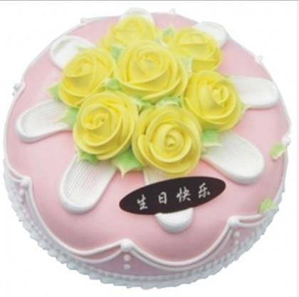 8寸圆形鲜奶蛋糕,奶油花装饰。