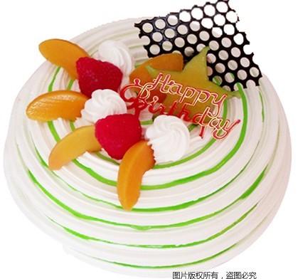 8寸圆形鲜奶水果蛋糕,时令水果,巧克力插片