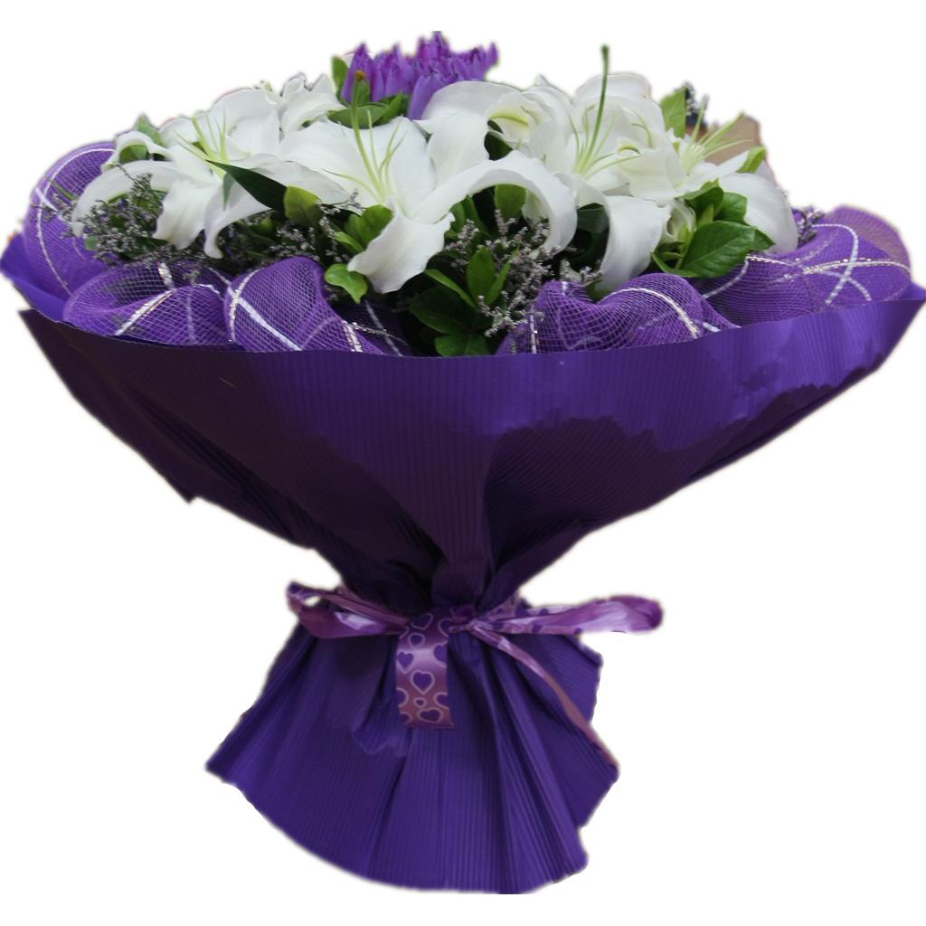 9枝白百合+9枝紫色睡莲,黄莺点缀