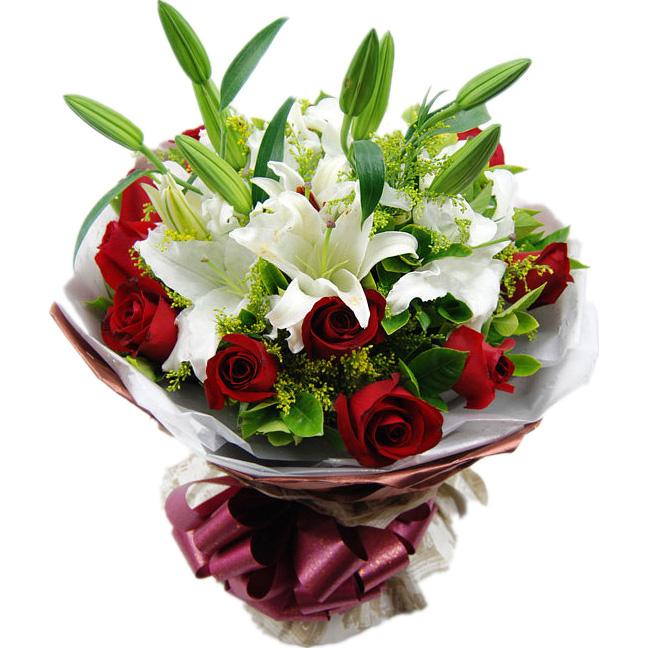 11支精选红玫瑰,2支香水百合