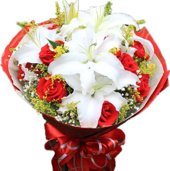 11枝红玫瑰,2枝多头白百合搭配满天星,黄莺
