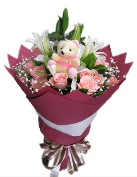 19枝粉玫瑰+2枝白百合+1只小熊,满天星