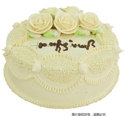 8寸圆形鲜奶蛋糕,黄色鲜奶围边,同色系鲜奶玫瑰花装饰