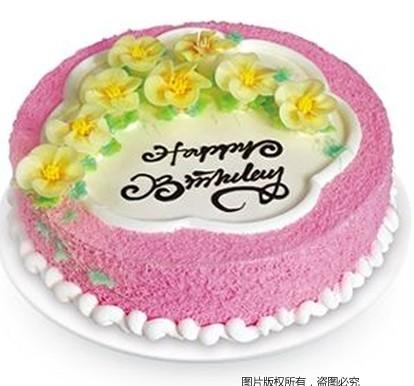 8寸圆形鲜奶蛋糕,8朵黄色鲜奶做的小花
