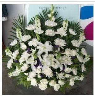 :白菊21朵,白玫瑰7朵,白百合3朵,金鱼草5枝