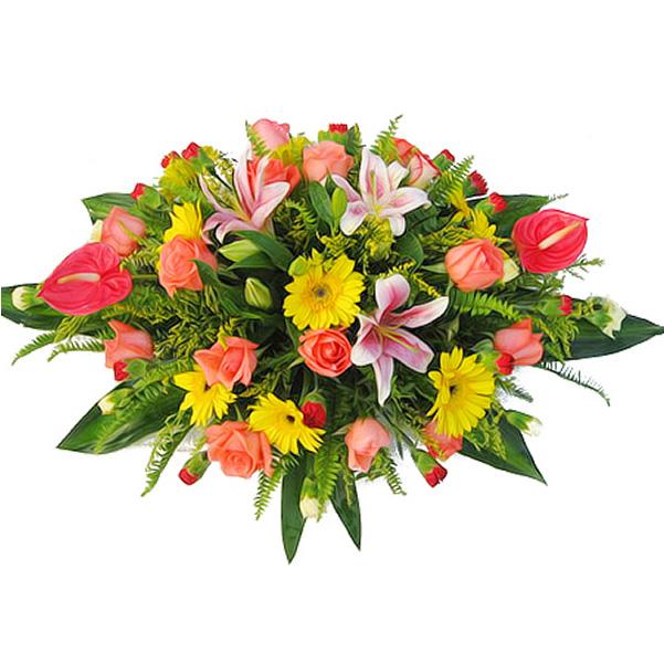 粉色香水百合,粉色玫瑰,黄色扶郎,红掌,红色多头康乃馨,绿叶