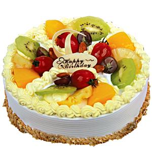 10寸水果奶油蛋糕,时令水果搭配