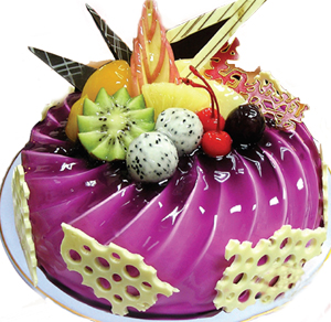 8寸圆形水果蛋糕。