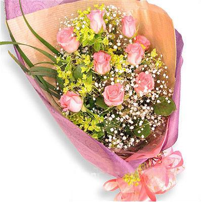 9枝粉玫瑰/月色中的相思