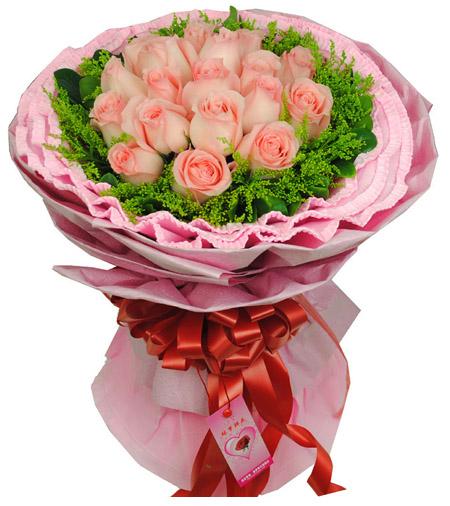 19枝粉玫瑰加配草