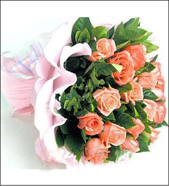 19枝粉色玫瑰,绿叶丰满间插