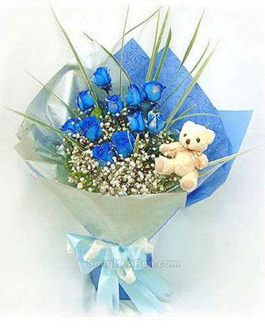 11枝蓝色妖姬,马莲叶、满天星点缀,另赠10MD小玩偶一只