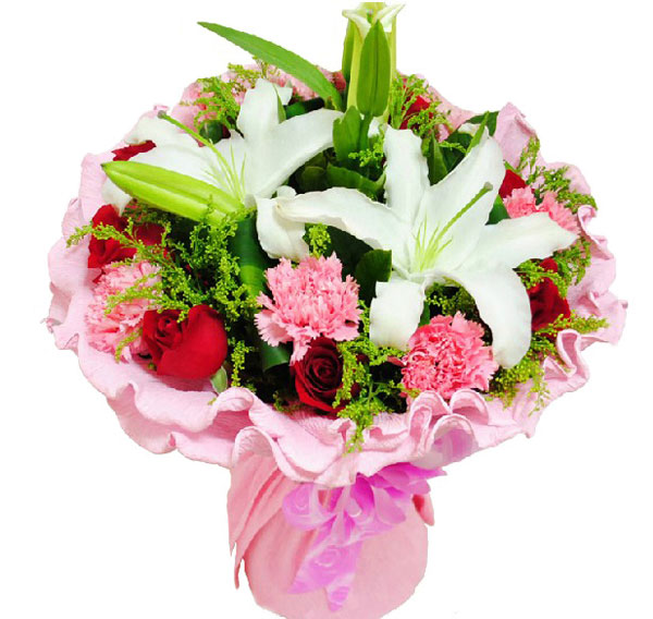 9朵粉色康乃馨+9朵红玫瑰+1朵多头白百合黄莺绿叶巴西叶围绕。