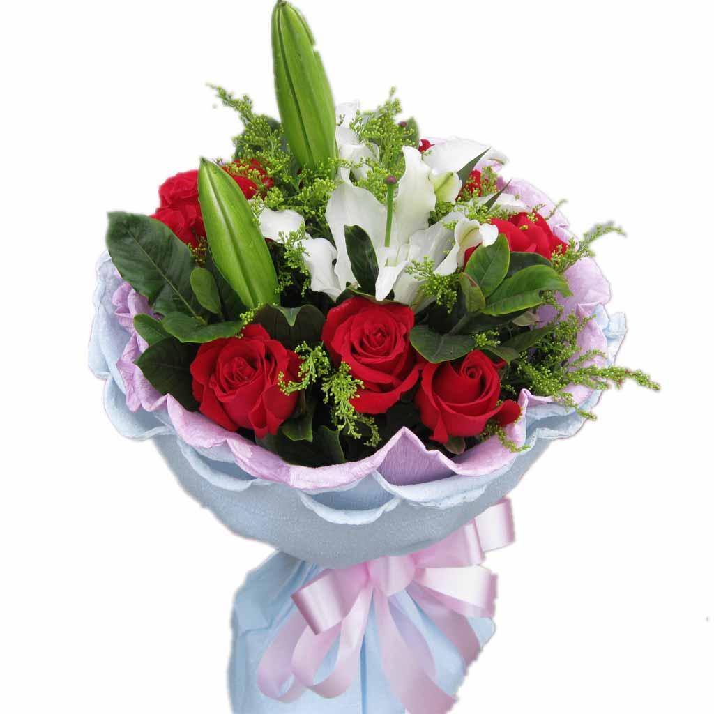 9只红玫瑰,一支多头百合,黄莺点缀。