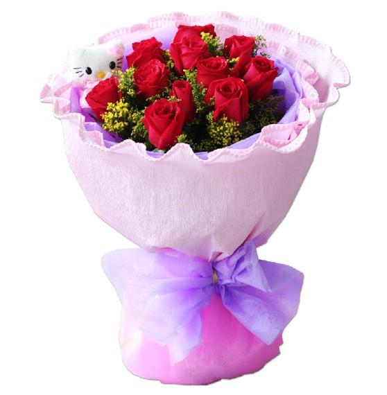 11朵红玫瑰+1只小熊,黄莺点缀