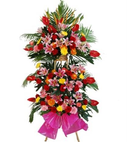 10片红掌,丰富粉香水百合、非洲菊、玫瑰、黄色菊花、剑兰,丰富配花和配叶装饰