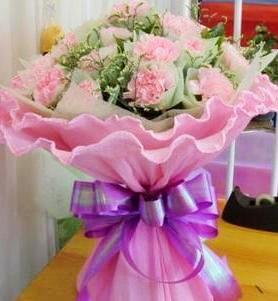 21朵粉色康乃馨,配  水晶花