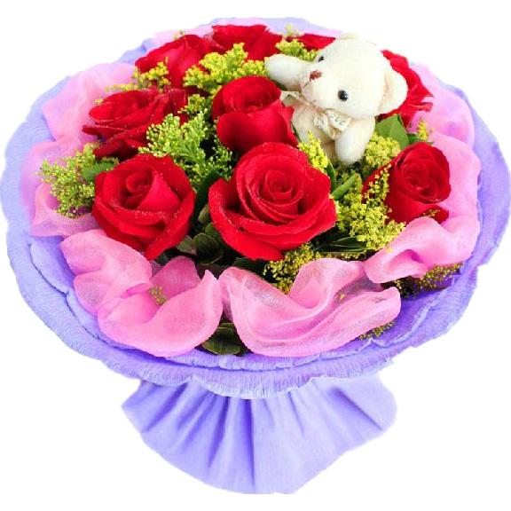 9朵红玫瑰+1只小熊