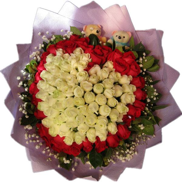 66枝白玫瑰+33枝红玫瑰,满天星配绿叶围绕